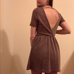cute backless dress with collar